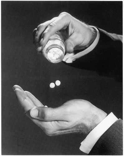 postcard - drugs - pills (b&w)